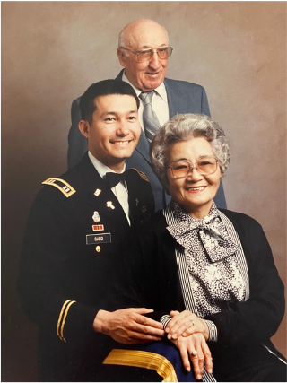 Chaplain Chuck Card pictured with his parents.