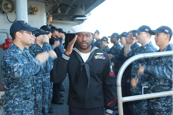Dameon Behlin pictured aboard the USS San Jacinto (CG-56) preparing for shore duty in Hawai'i (2017)