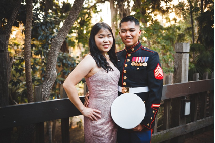 Russell Magsanide pictured with his wife.
